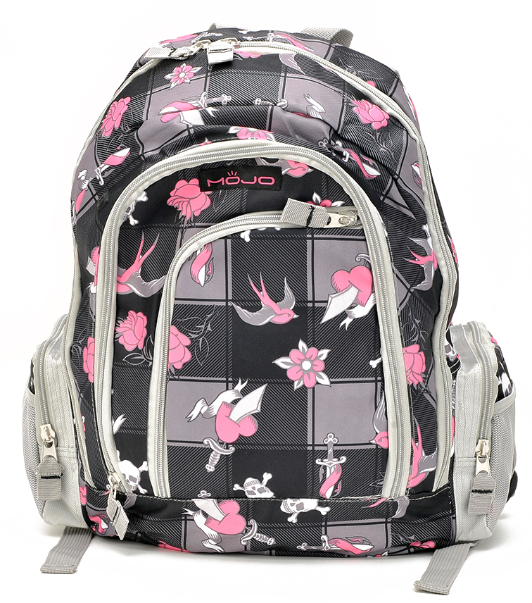 Stylish Gary and Pink Pattern Large Backpack (80537)