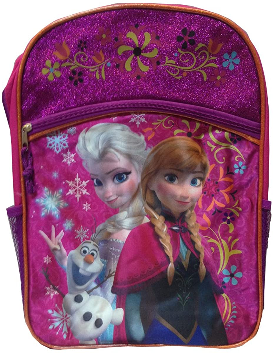 Frozen Large 16 Inch Backpack Sisters Magic Pink with Glitter!