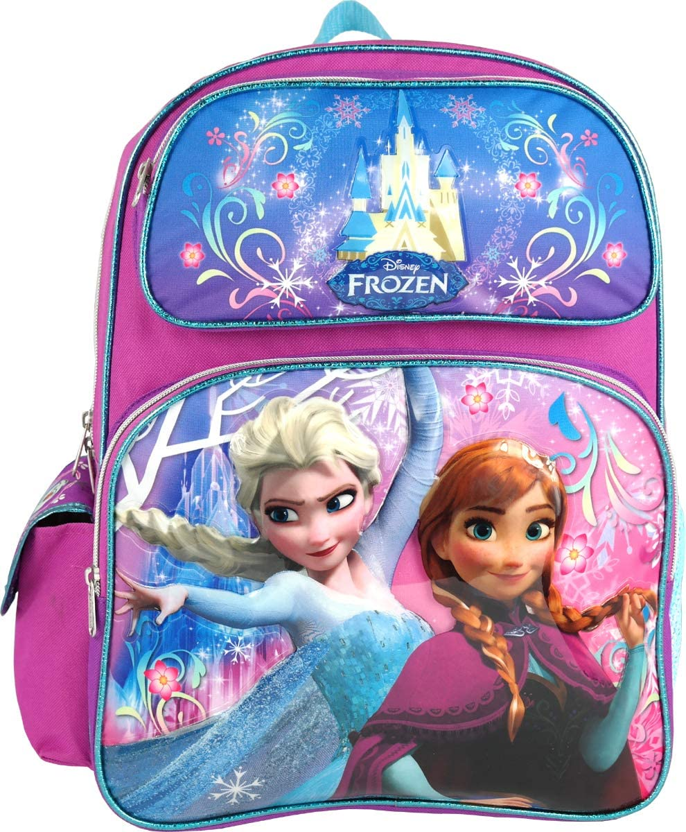 Frozen Girls Elsa Anna 16 Inches School Backpack - Blue / Pink
