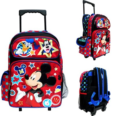 "Disney Mickey Mouse Large Rolling Backpack 16"" Canvas Boys Book"