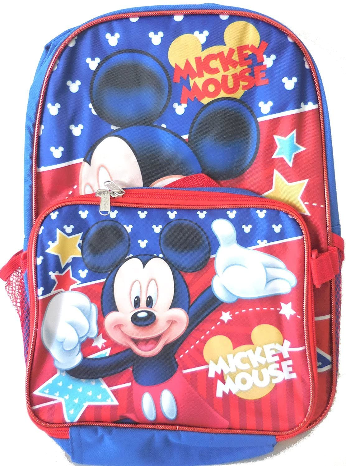 Disney Mickey Mouse Stars 16 Inch Backpack w/ Detachable Lunch K