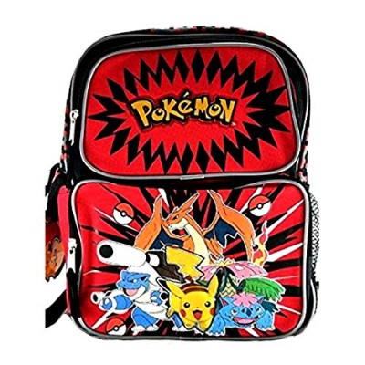 Red and Black Kids School Bag for Pokemon and Friends Toys Backp