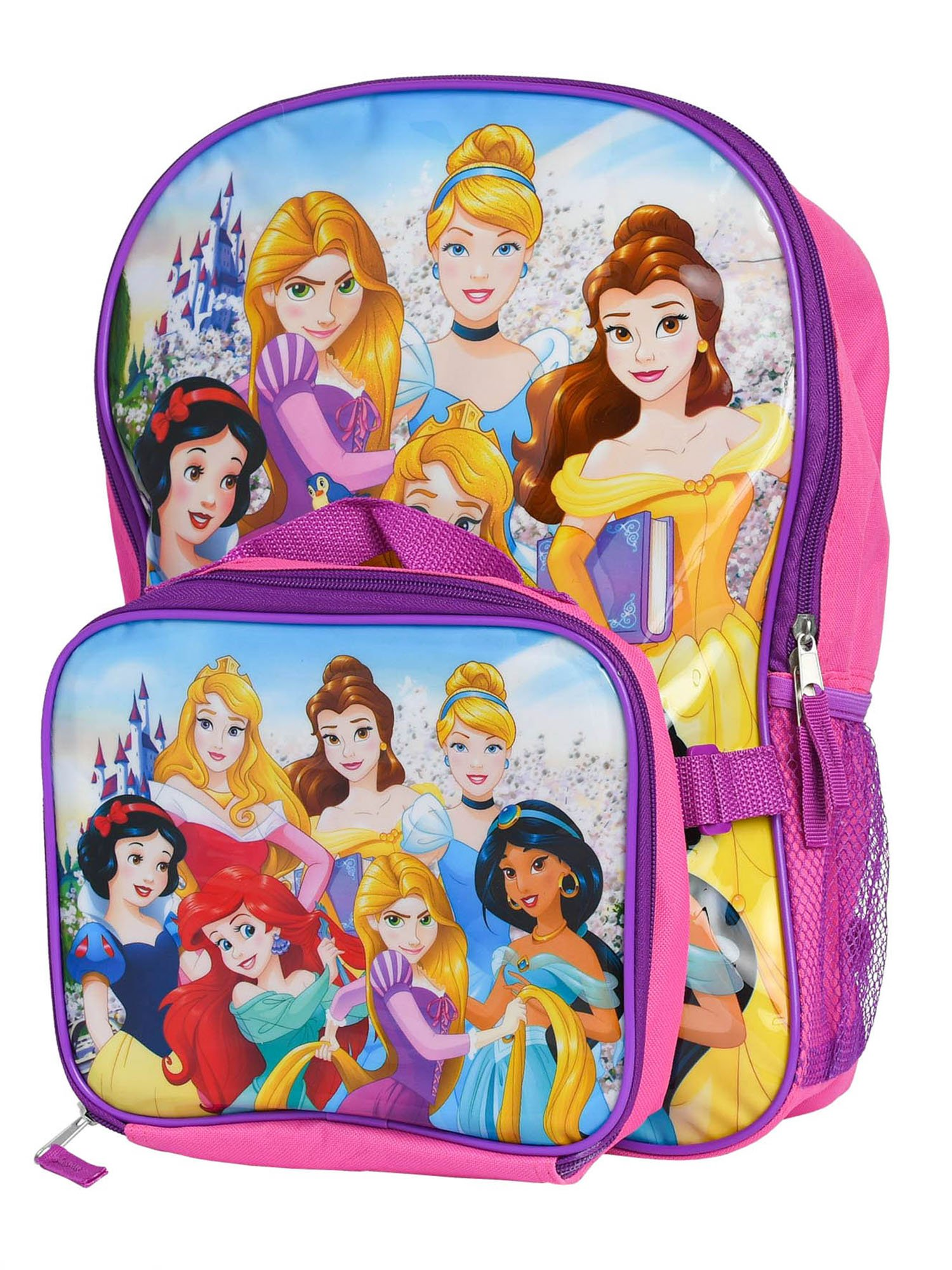 "Disney Princess 16"" Backpack w/ Detachable Insulated Lunch Bag"