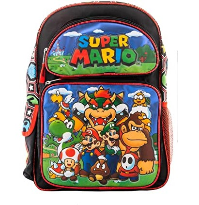 Super Mario Backpack Book Bag Travel Everyday bag pouch (16 Inch