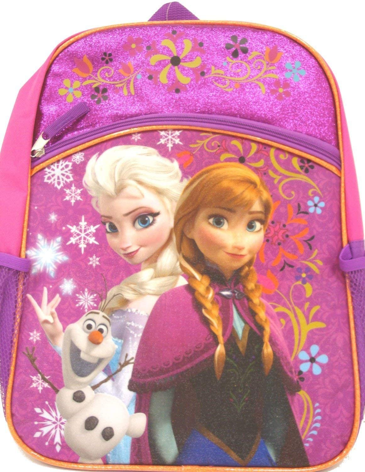 "Frozen Backpack with Lower Front Pocket, 16"" (Pink)"